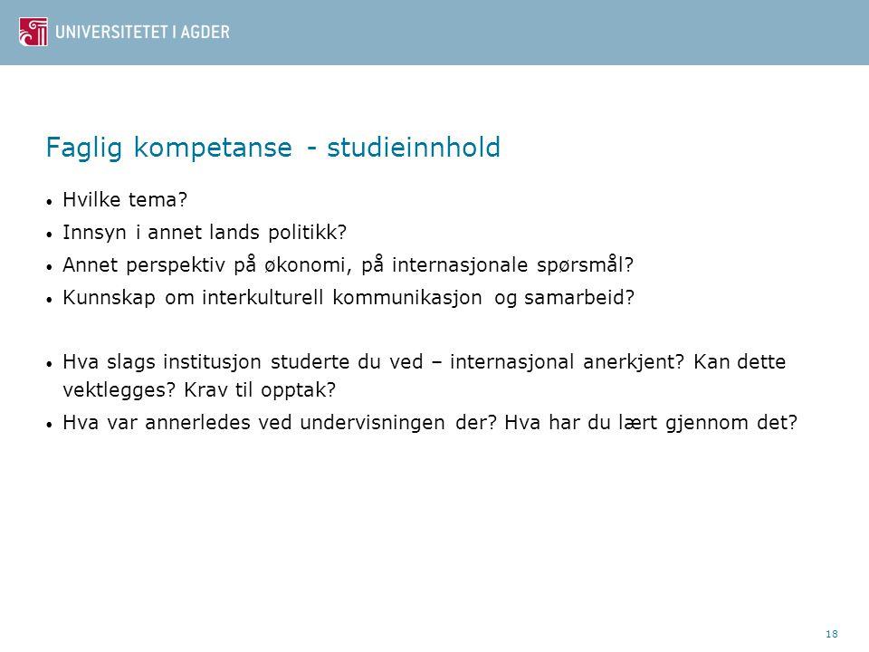 Faglig kompetanse - studieinnhold