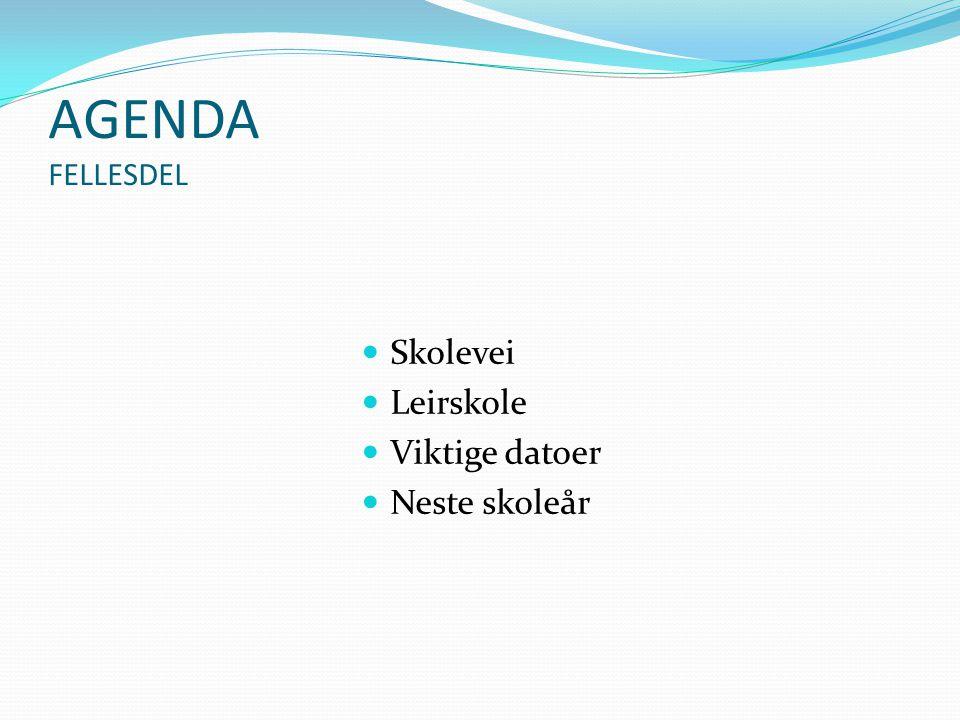 AGENDA FELLESDEL Skolevei Leirskole Viktige datoer Neste skoleår