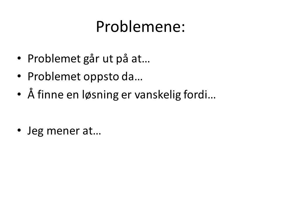Problemene: Problemet går ut på at… Problemet oppsto da…