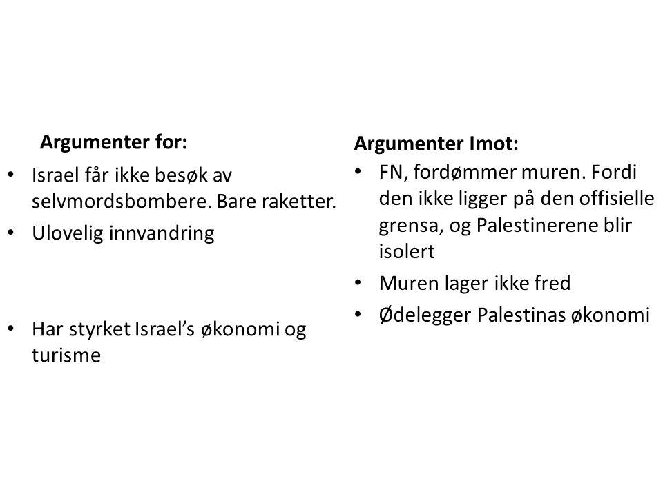 Argumenter for: Argumenter Imot: Israel får ikke besøk av selvmordsbombere. Bare raketter. Ulovelig innvandring.