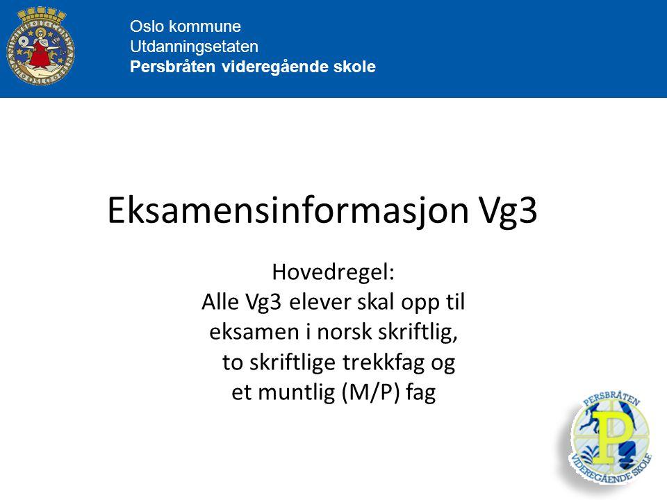 Eksamensinformasjon Vg3