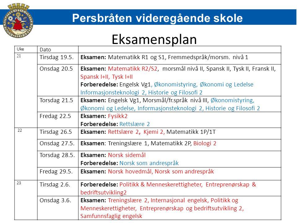 Eksamensplan Persbråten videregående skole Tirsdag 19.5.
