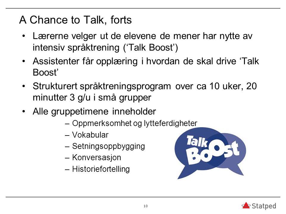 A Chance to Talk, forts Lærerne velger ut de elevene de mener har nytte av intensiv språktrening ('Talk Boost')