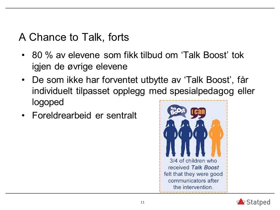 A Chance to Talk, forts 80 % av elevene som fikk tilbud om 'Talk Boost' tok igjen de øvrige elevene.