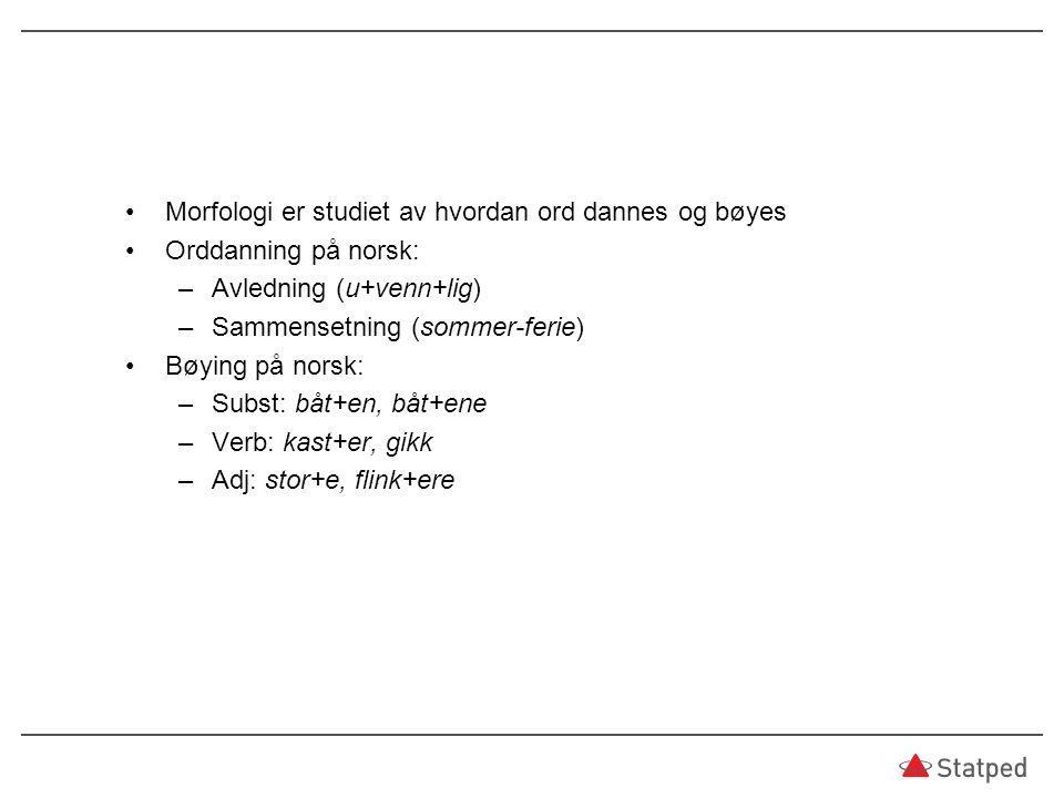 Morfologi er studiet av hvordan ord dannes og bøyes