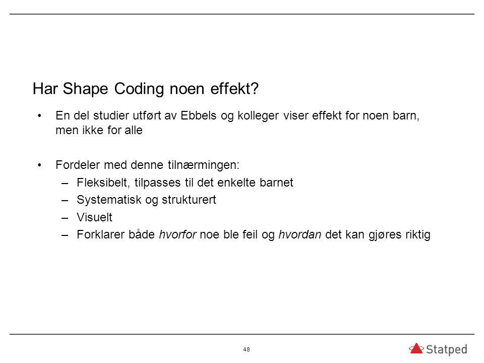 Har Shape Coding noen effekt