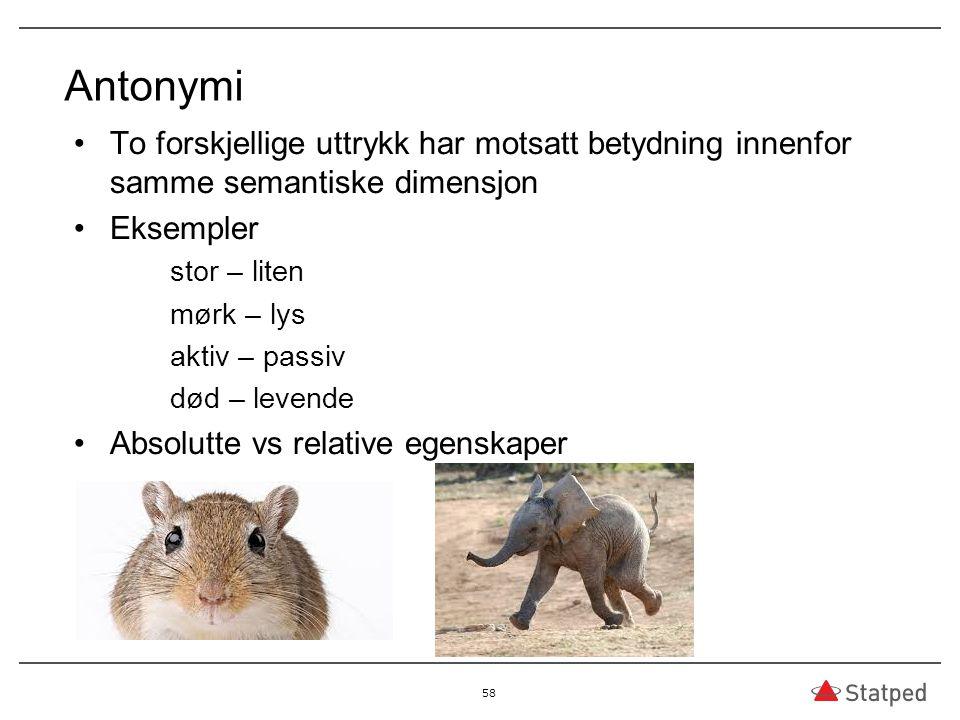 Antonymi To forskjellige uttrykk har motsatt betydning innenfor samme semantiske dimensjon. Eksempler.