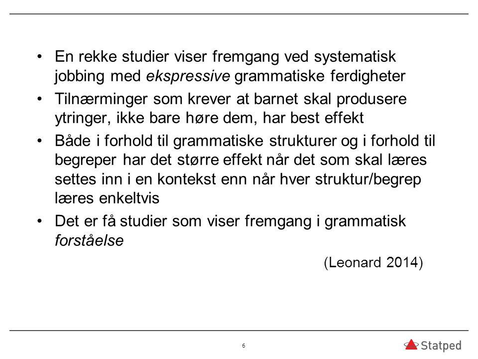Det er få studier som viser fremgang i grammatisk forståelse