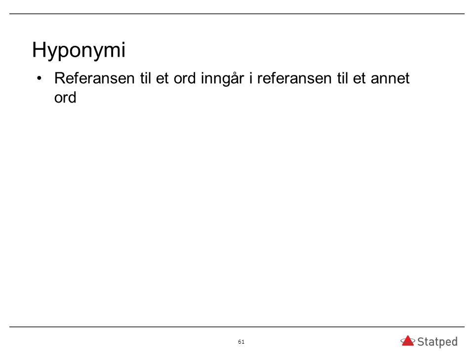 Hyponymi Referansen til et ord inngår i referansen til et annet ord