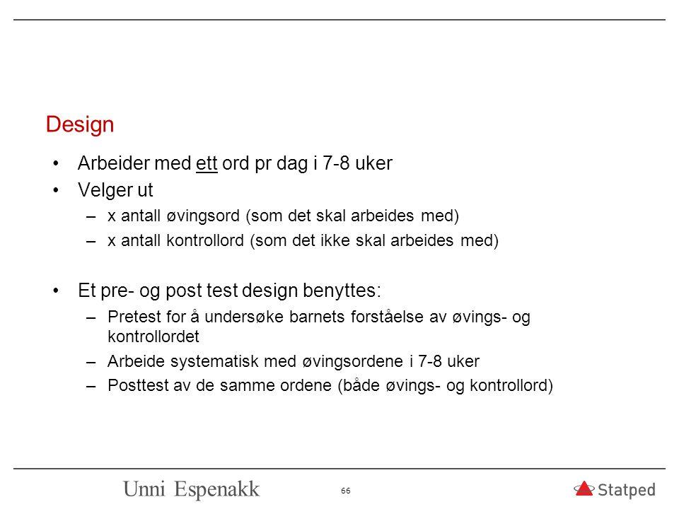 Design Unni Espenakk Arbeider med ett ord pr dag i 7-8 uker Velger ut