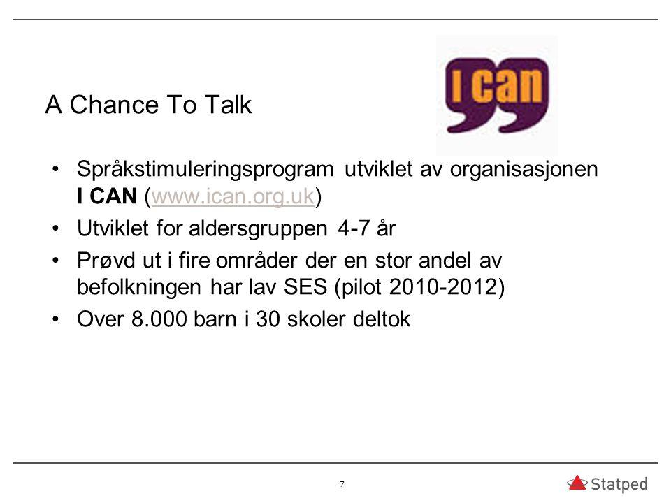 A Chance To Talk Språkstimuleringsprogram utviklet av organisasjonen I CAN (www.ican.org.uk) Utviklet for aldersgruppen 4-7 år.