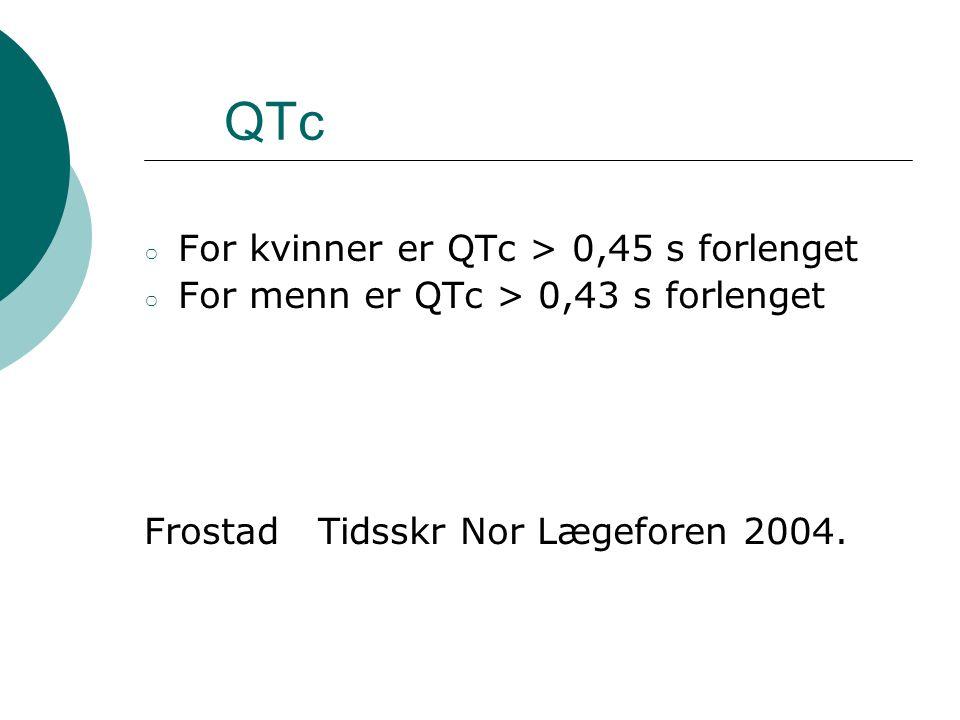 QTc For kvinner er QTc > 0,45 s forlenget
