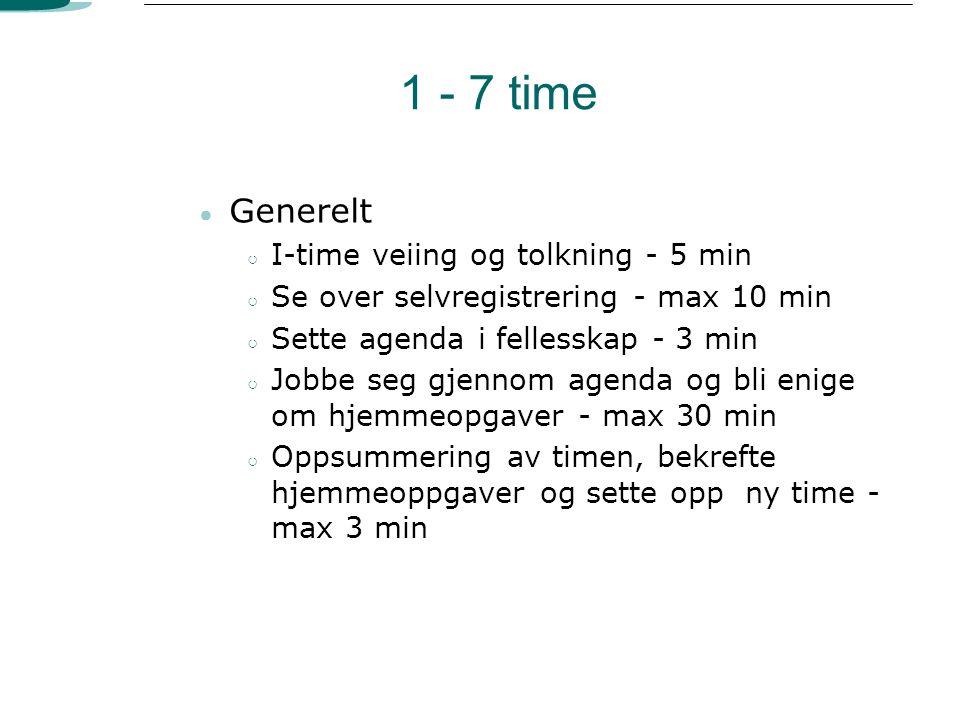 1 - 7 time Generelt I-time veiing og tolkning - 5 min