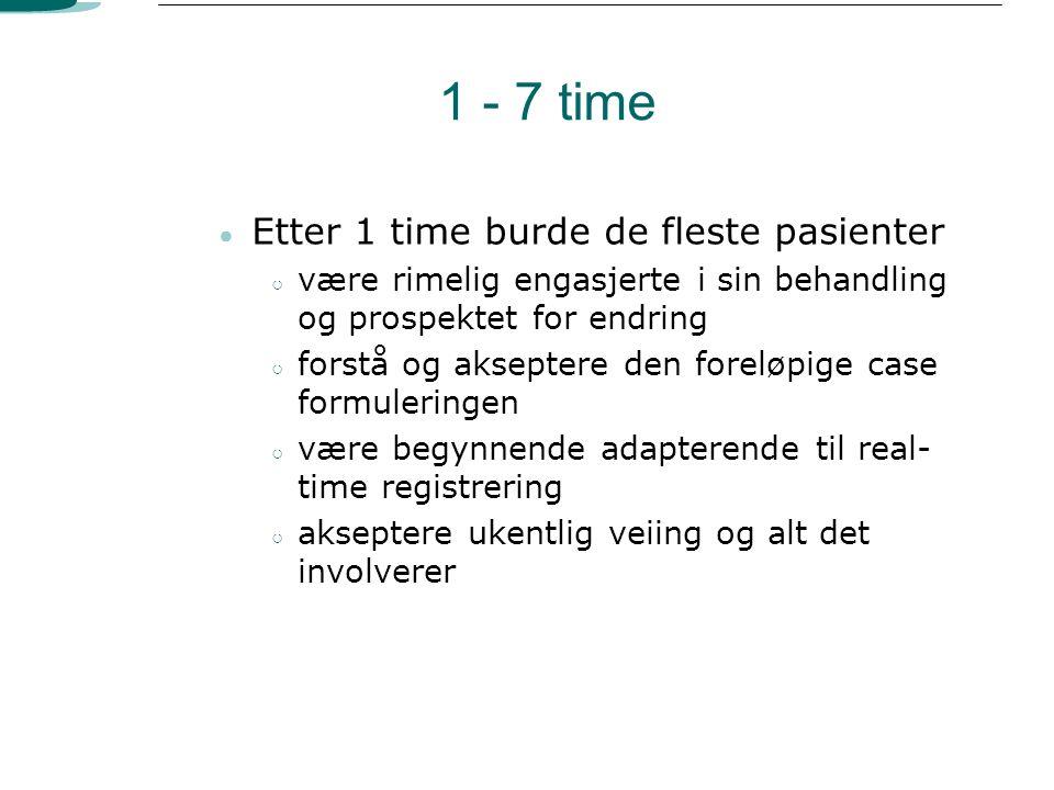 1 - 7 time Etter 1 time burde de fleste pasienter
