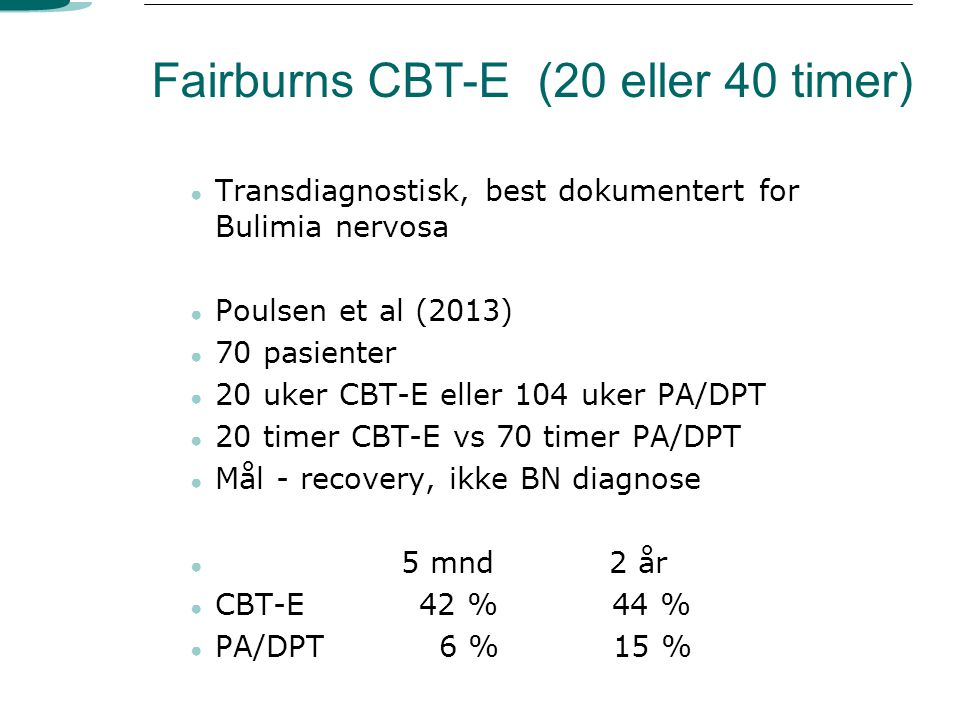 Fairburns CBT-E (20 eller 40 timer)