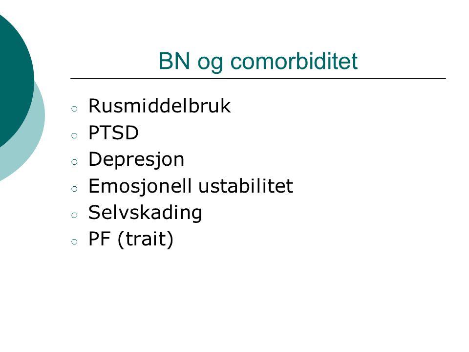 BN og comorbiditet Rusmiddelbruk PTSD Depresjon Emosjonell ustabilitet