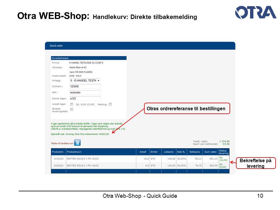 Otra WEB-Shop: Handlekurv: Direkte tilbakemelding