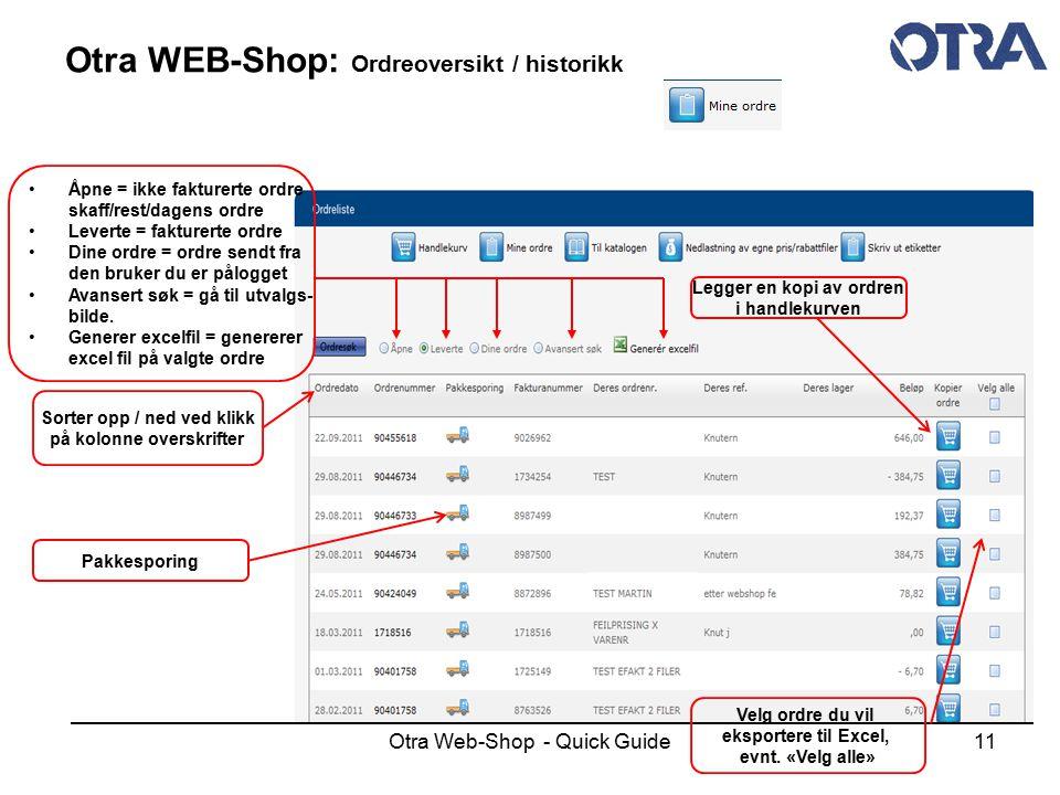 Otra WEB-Shop: Ordreoversikt / historikk