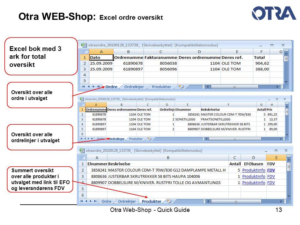Otra WEB-Shop: Excel ordre oversikt