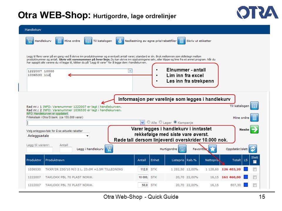 Otra WEB-Shop: Hurtigordre, lage ordrelinjer