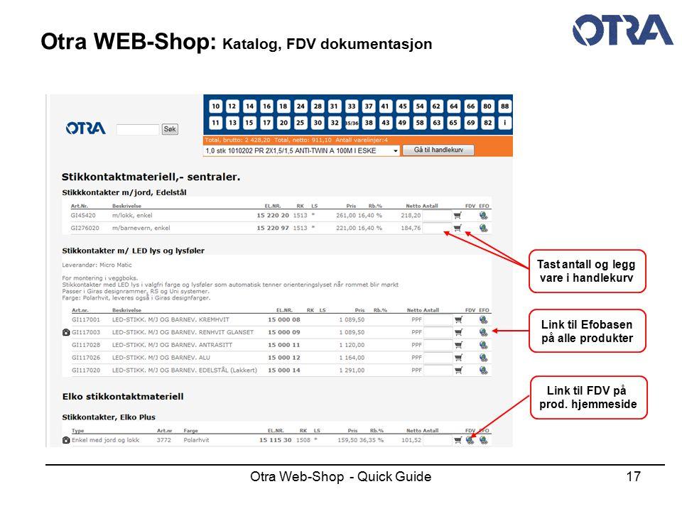 Otra WEB-Shop: Katalog, FDV dokumentasjon