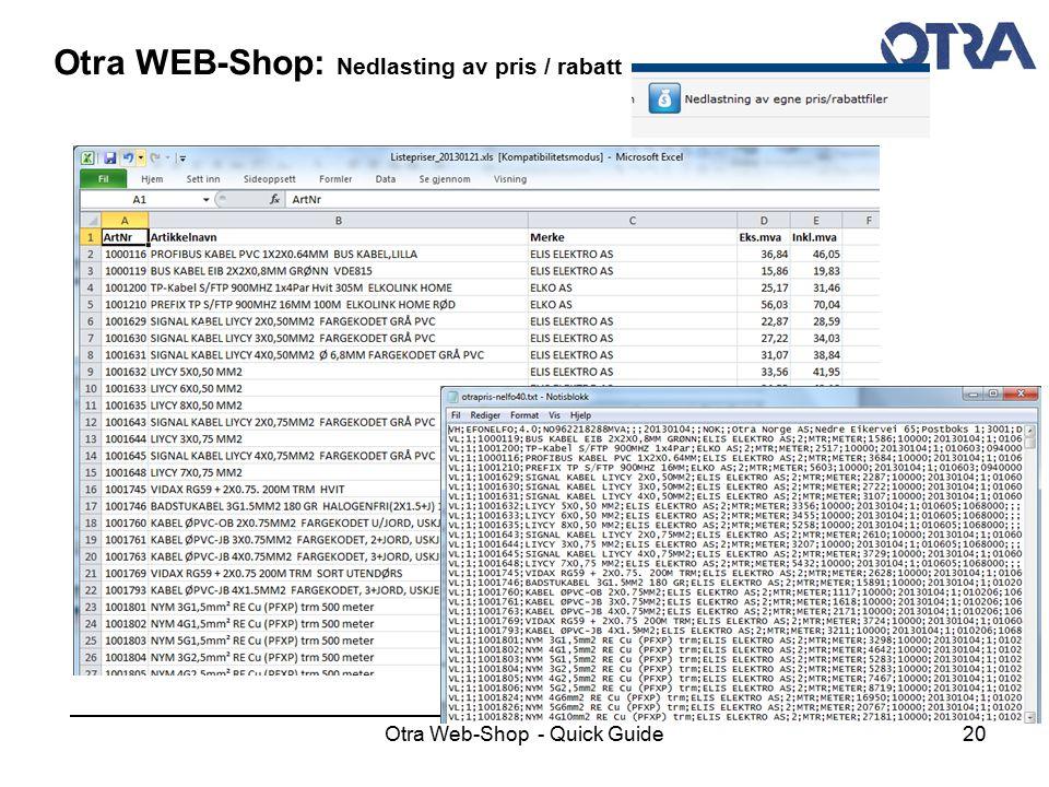Otra WEB-Shop: Nedlasting av pris / rabatt