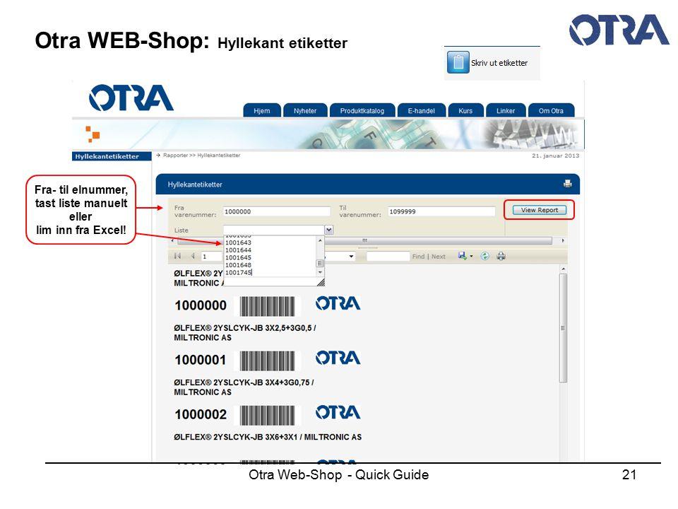Otra WEB-Shop: Hyllekant etiketter