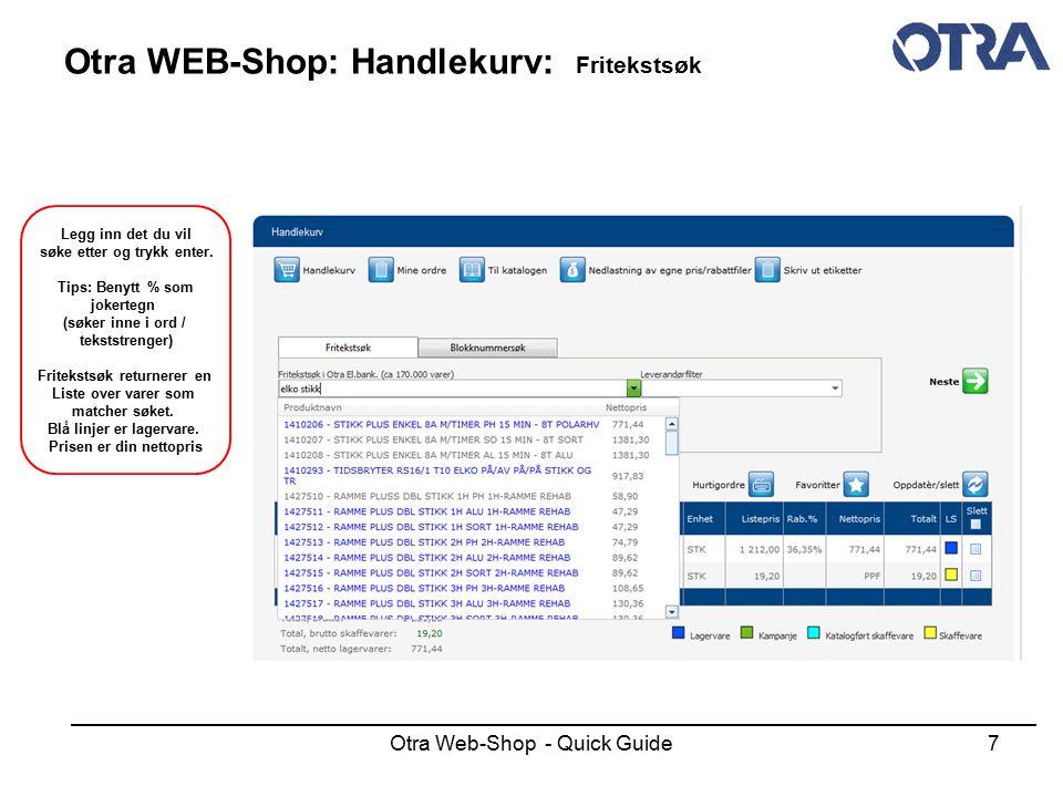 Otra WEB-Shop: Handlekurv: Fritekstsøk