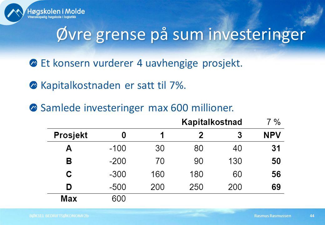 Øvre grense på sum investeringer