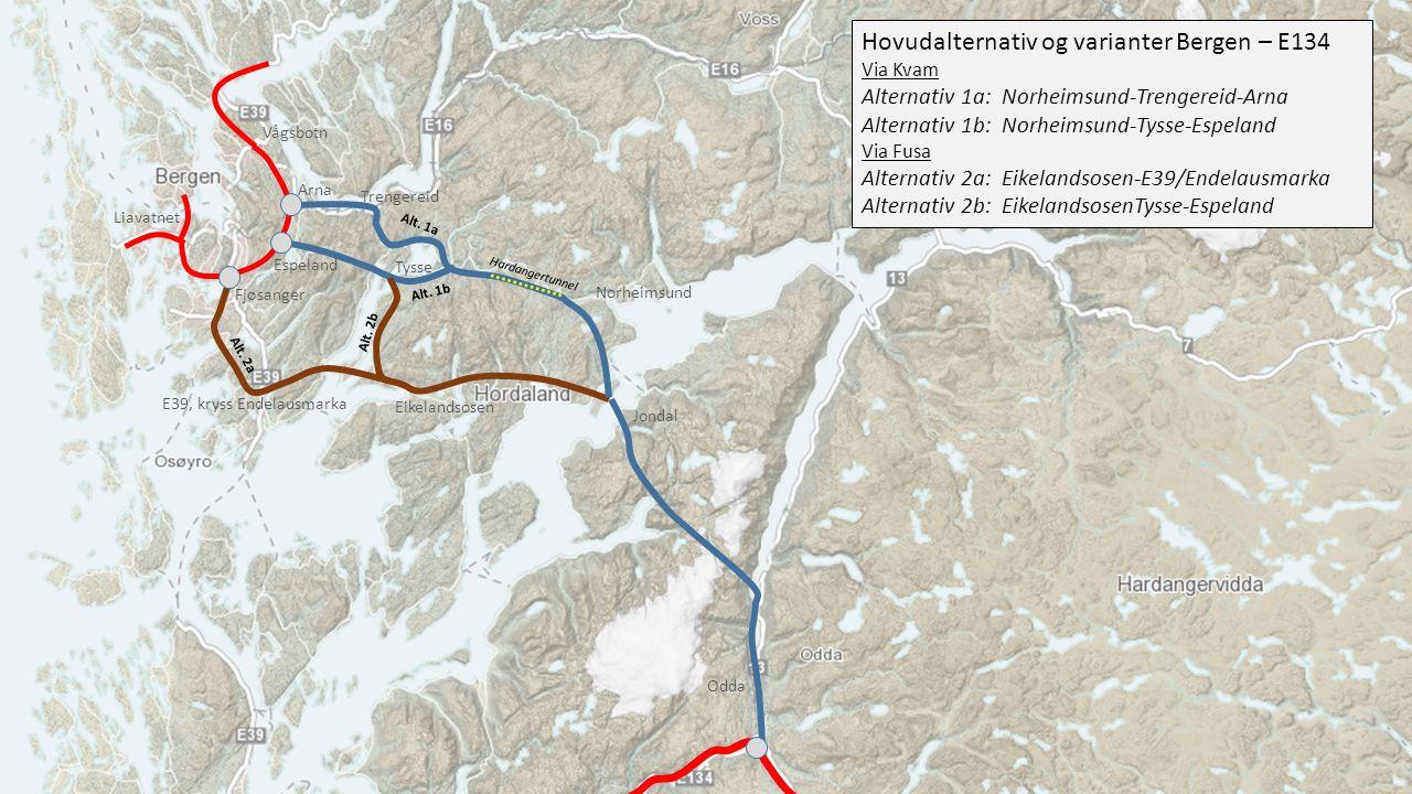 Hovudalternativ og varianter Bergen – E134