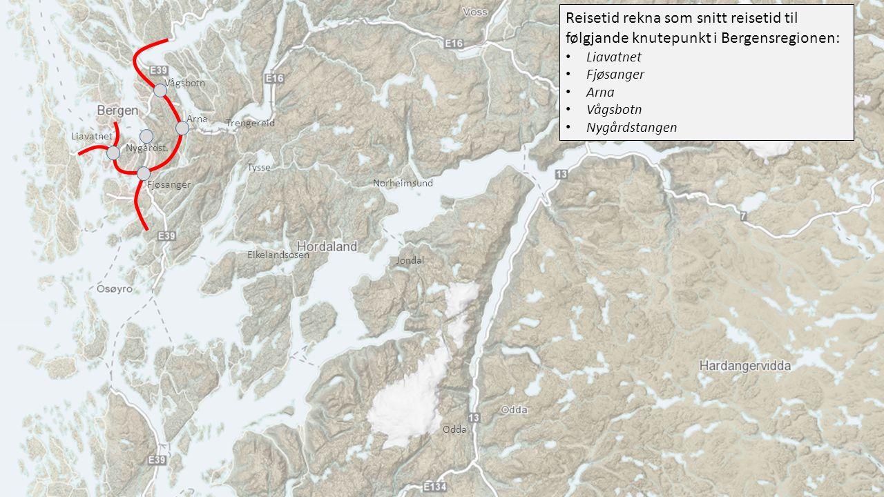 Reisetid rekna som snitt reisetid til følgjande knutepunkt i Bergensregionen: