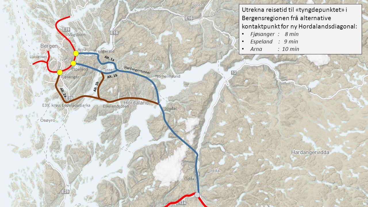 Utrekna reisetid til «tyngdepunktet» i Bergensregionen frå alternative kontaktpunkt for ny Hordalandsdiagonal:
