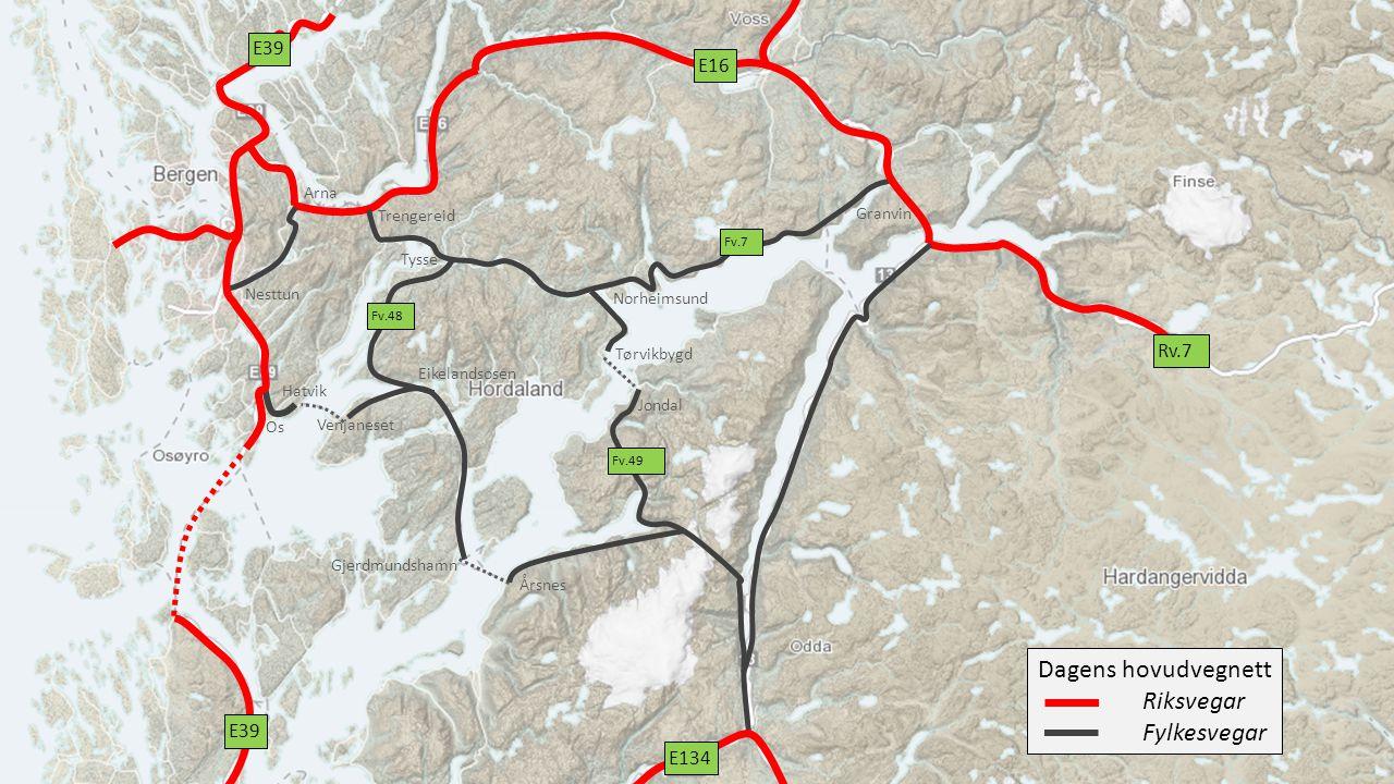 Dagens hovudvegnett Riksvegar Fylkesvegar E39 E16 Rv.7 E39 E134 Arna