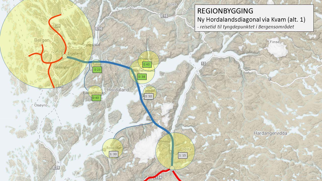 REGIONBYGGING Ny Hordalandsdiagonal via Kvam (alt. 1)