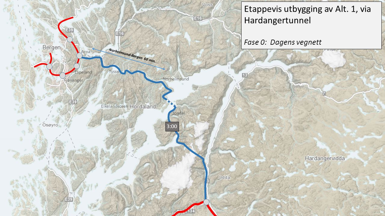 Etappevis utbygging av Alt. 1, via Hardangertunnel