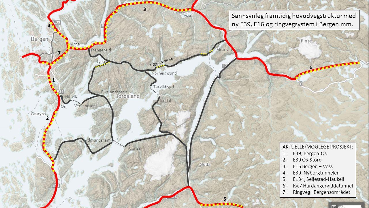 3 Voss. Sannsynleg framtidig hovudvegstruktur med ny E39, E16 og ringvegsystem i Bergen mm. 4. Arna.