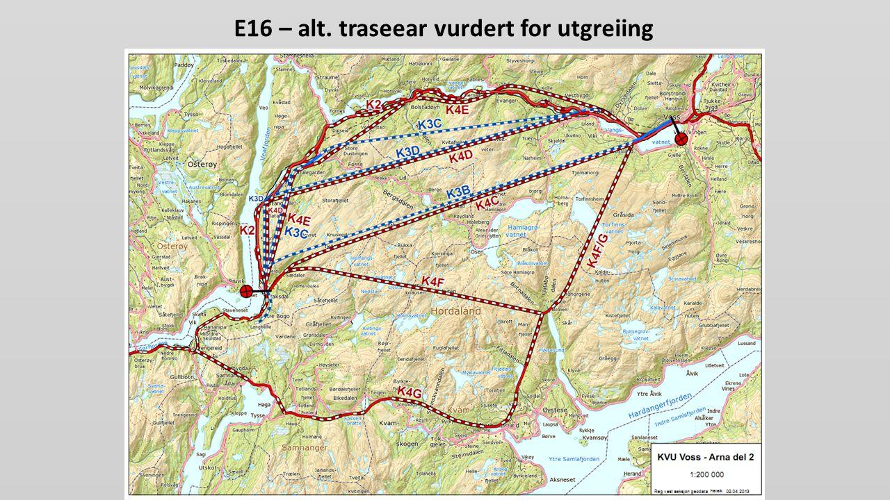 E16 – alt. traseear vurdert for utgreiing