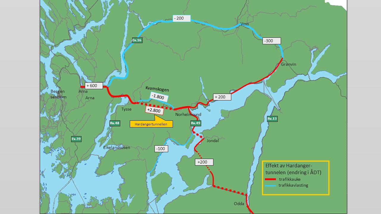 Effekt av Hardanger-tunnelen (endring i ÅDT) trafikkauke