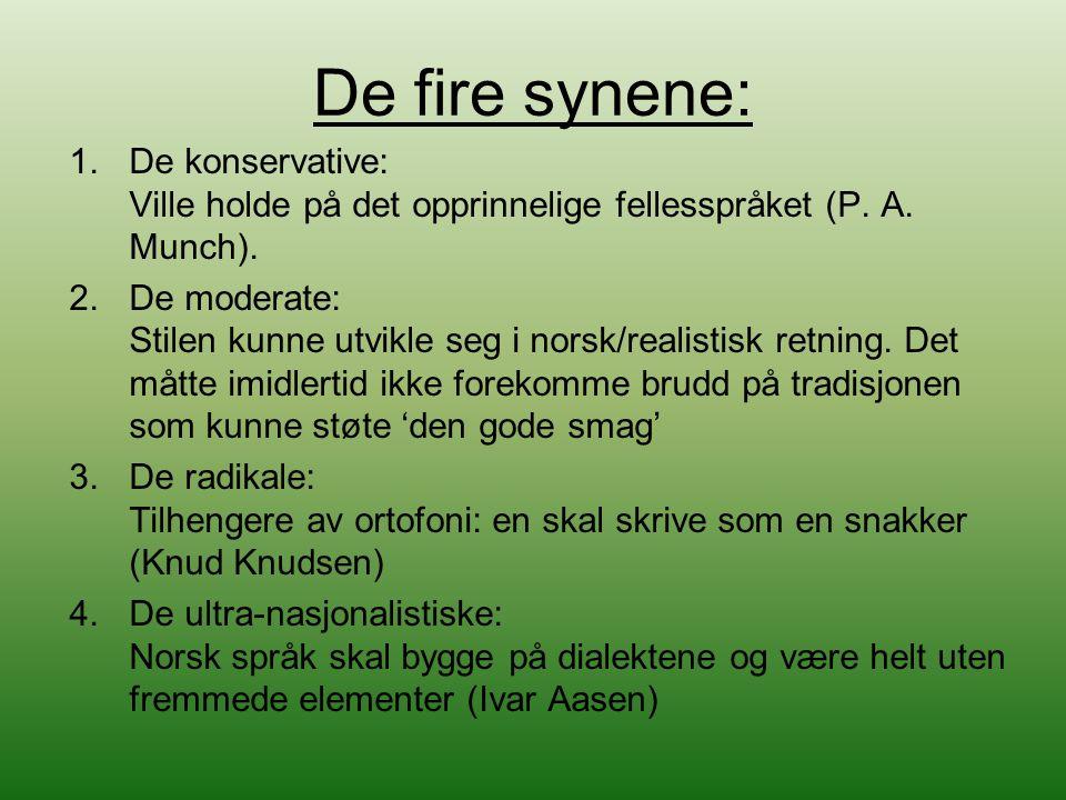 De fire synene: De konservative: Ville holde på det opprinnelige fellesspråket (P. A. Munch).
