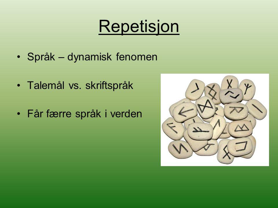 Repetisjon Språk – dynamisk fenomen Talemål vs. skriftspråk