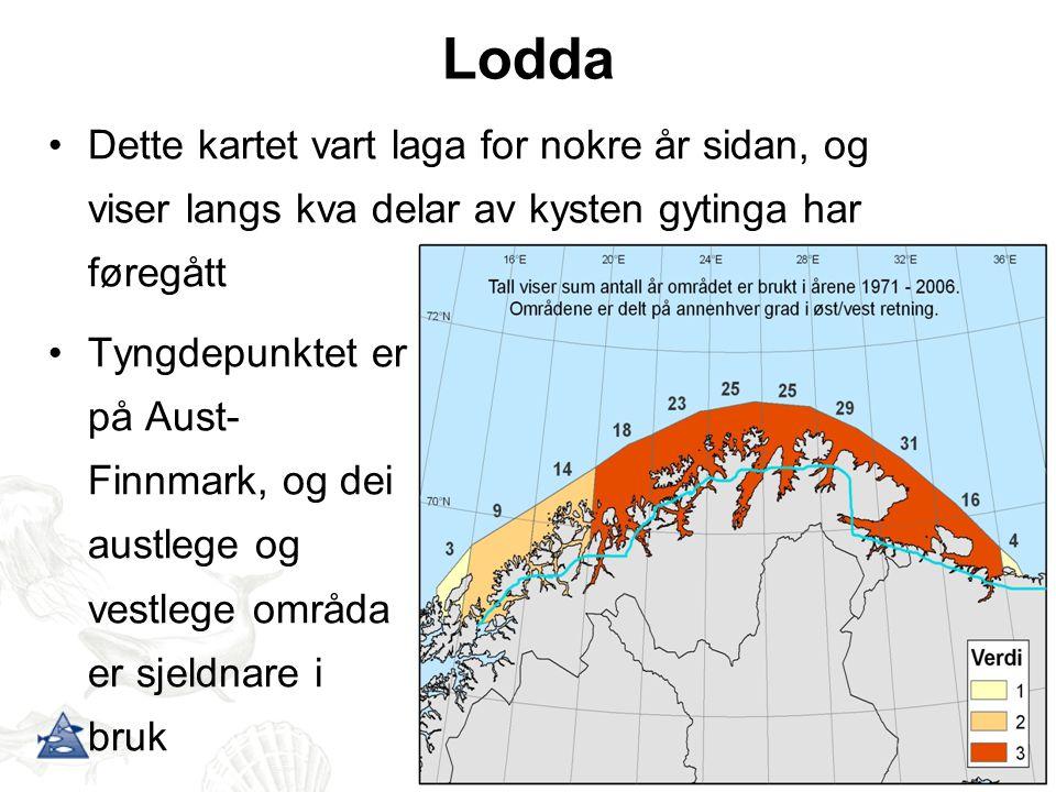 Lodda Dette kartet vart laga for nokre år sidan, og viser langs kva delar av kysten gytinga har føregått.