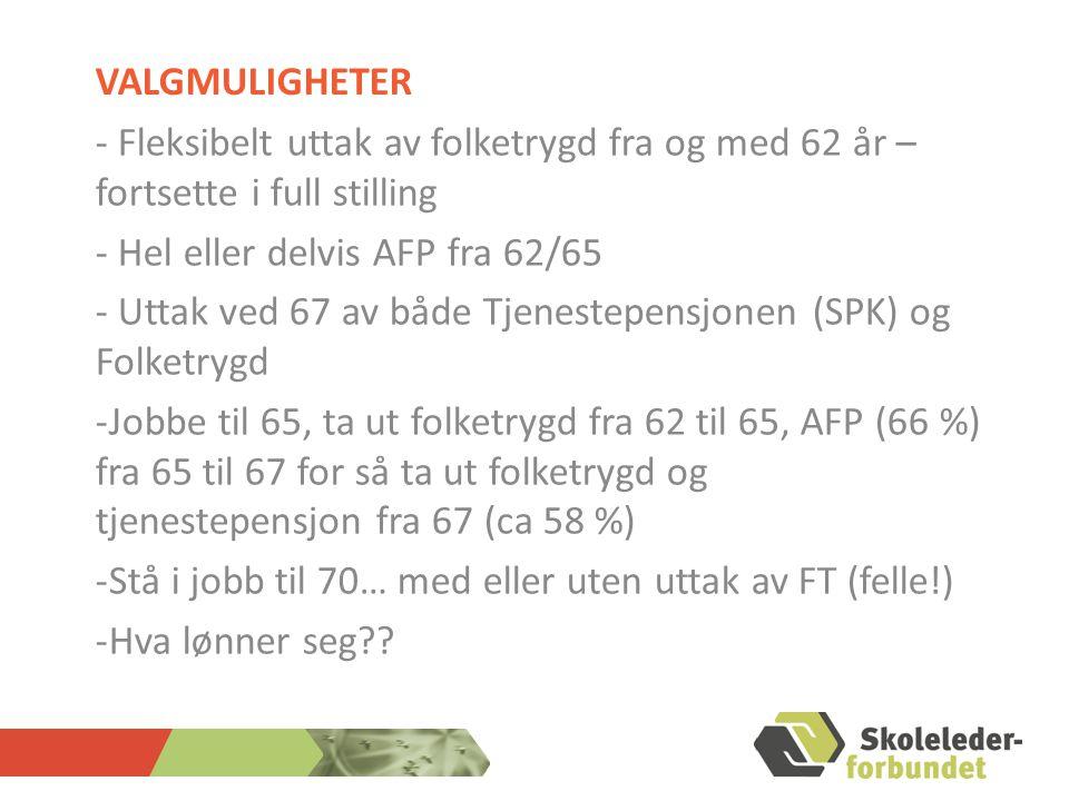 Valgmuligheter - Fleksibelt uttak av folketrygd fra og med 62 år – fortsette i full stilling. - Hel eller delvis AFP fra 62/65.