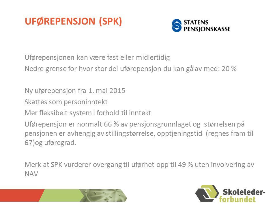 Uførepensjon (SPK) Uførepensjonen kan være fast eller midlertidig