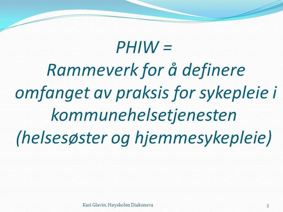 PHIW = Rammeverk for å definere omfanget av praksis for sykepleie i kommunehelsetjenesten (helsesøster og hjemmesykepleie)