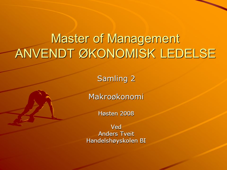 Master of Management ANVENDT ØKONOMISK LEDELSE