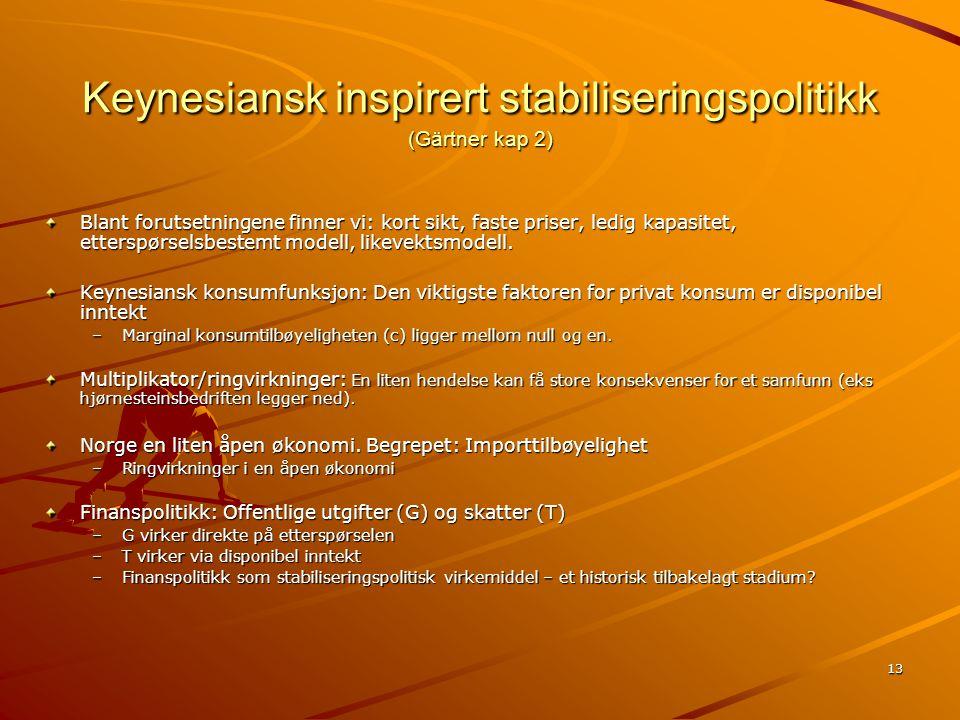 Keynesiansk inspirert stabiliseringspolitikk (Gärtner kap 2)