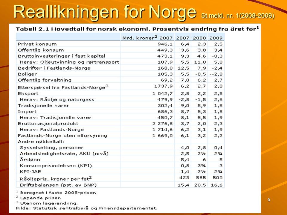 Reallikningen for Norge St.meld. nr. 1(2008-2009)