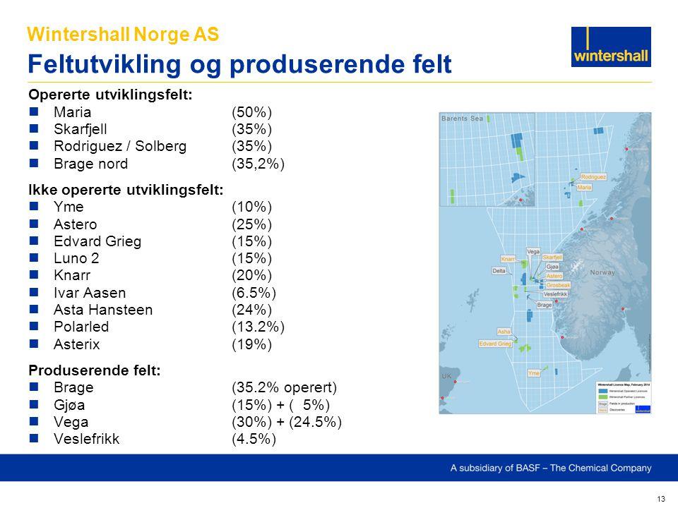 Wintershall Norge AS Feltutvikling og produserende felt