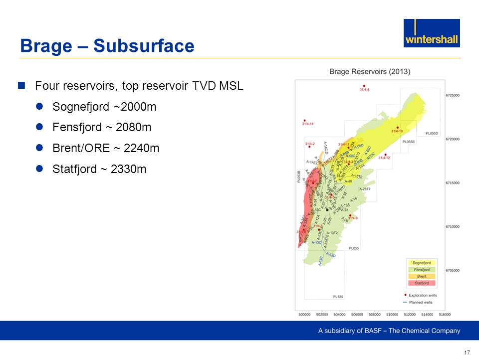 Brage – Subsurface Four reservoirs, top reservoir TVD MSL