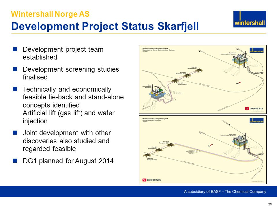 Wintershall Norge AS Development Project Status Skarfjell